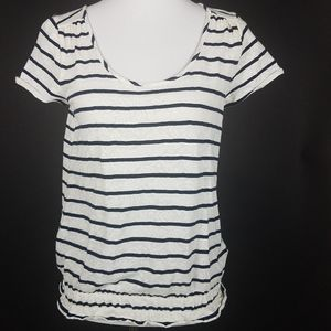 Lucky Brand Blue Stripped Lace Print Top